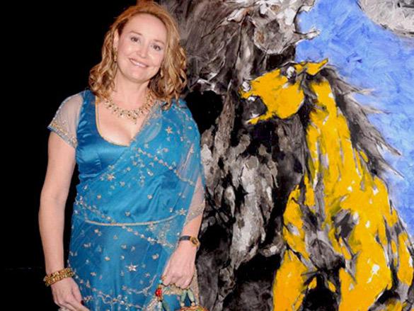 Nina Pillai and artist Aslam Shaikh's art exhibition