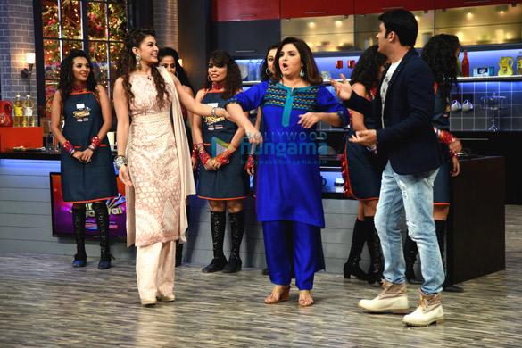 Jacqueline Fernandez & Kapil Sharma on the cookery show Farah Ki Dawaat