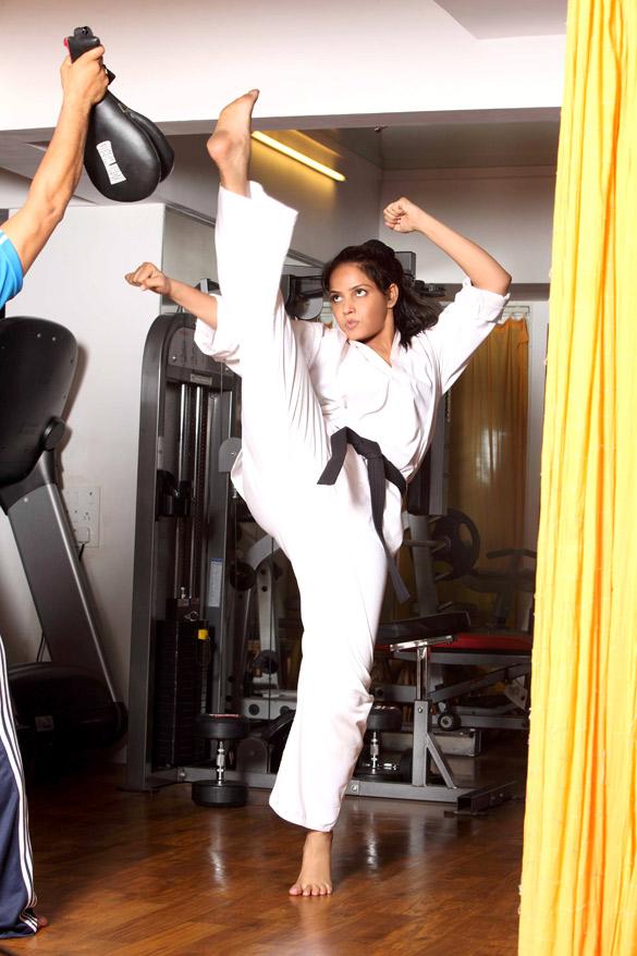 Neetu Chandra training for Taekwondo