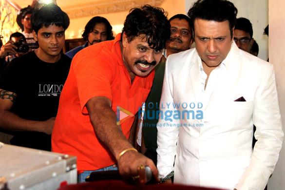 "Govinda at the muhurat of cousin Aakash's debut film ""Jhamele Pe Jhamela"""