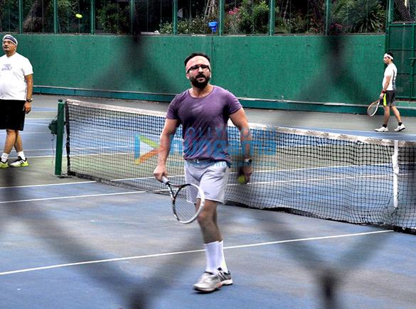 Saif Ali Khan snapped playing tennis with son Ibrahim Ali Khan & daughter Sara Ali Khan