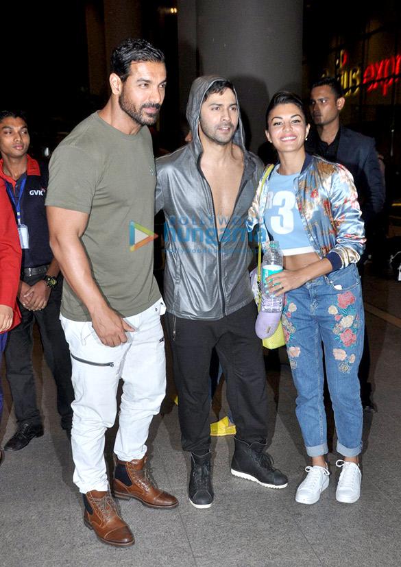 Varun Dhawan, John Abraham & Jacqueline Fernandez return from 'Dishoom' promotions in Nagpur