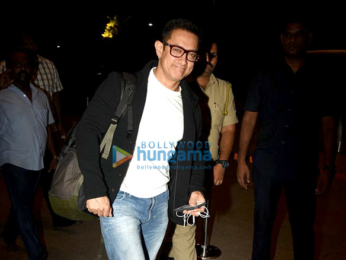 Aamir Khan snapped at the airport leaving for the USA