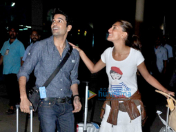 Caterina Murino snapped with Rajeev Khandelwal & Gauahar Khan at the airport