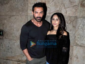 John Abraham and wife Priya Runchal snapped at 'Dishoom' screening