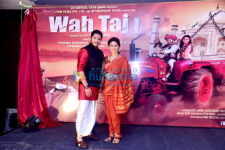 Shreyas Talpade & Manjari Fadnis at the poster Launch of 'Wah Taj'
