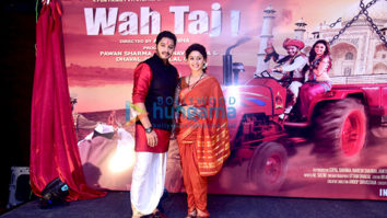 Shreyas Talpade & Manjari Fadnis at the poster Launch of 'Wah Taj'