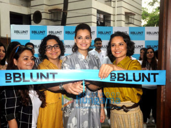 Dia Mirza & Adhuna Bhabani at the launch of BBlunt Salon in Malad