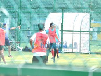 Ranbir Kapoor and Abhishek Bachchan snapped at football practice