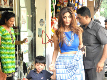 Shilpa Shetty snapped with her son shopping at a Pet shop
