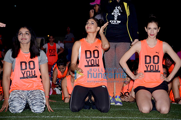 Jacqueline Fernandez, Kalki Koechlin & Sakshi Malik participate Abdominal plank position for 60 seconds