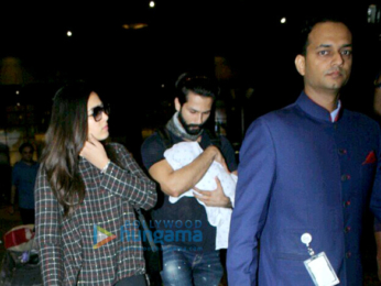 Shahid Kapoor snapped with wife and kid at the Mumbai airport