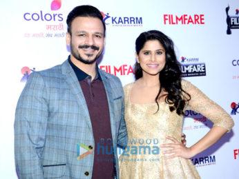 Vivek Oberoi & Sai Tamhankar at the media meet of 'Filmfare Awards Marathi 2016'