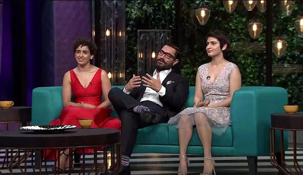 Watch Aamir Khan graces Koffee with Karan couch with on-screen daughters Sanya Malhotra and Fatima Sana Shaikh