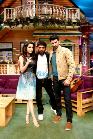 Shraddha Kapoor and Aditya Roy Kapur on the sets of The Kapil Sharma Show