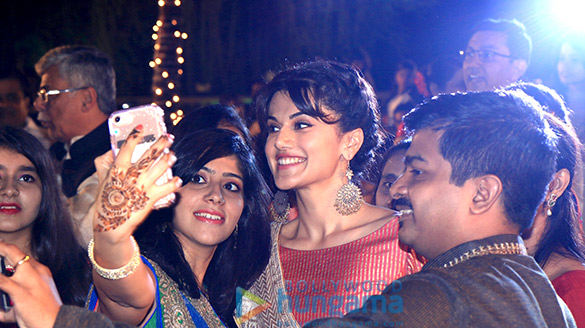 Taapsee Pannu promotes music of Running Shaadi.com at a real sangeet ceremony