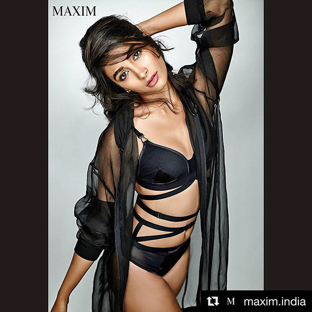 HOT Pooja Hegde in a sexy black lingerie for Maxim shoot