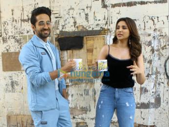Ayushmann Khuranna and Parineeti Chopra snapped promoting their film 'Meri Pyaari Bindu'