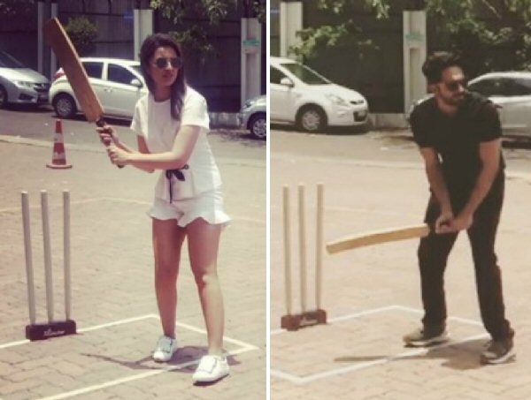 Ayushmann Khurrana and Parineeti Chopra get the cricket
