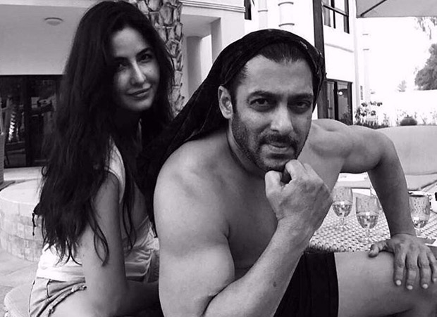 Katrina Kaif poses with a shirtless Salman Khan