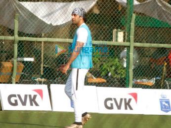 Ranbir Kapoor snapped while playing football in Bandra