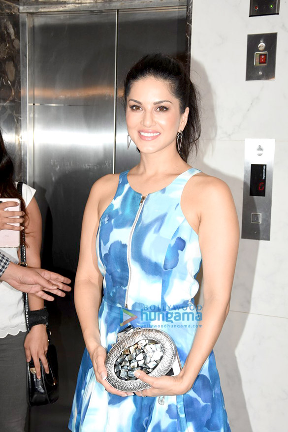 Sunny Leone and Virender Sehwag snapped post meeting in Bandra