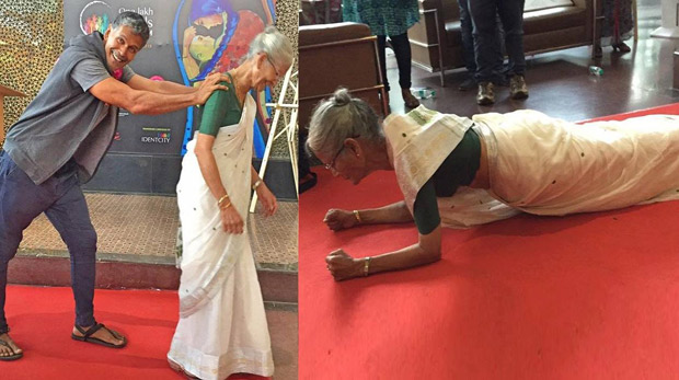 Watch Milind Soman's 78-year-old mother does a plank in a saree for 80 seconds