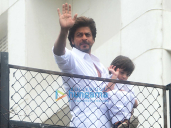 Shah Rukh Khan and his AbRam Khan snapped at their house Mannat on Eid today