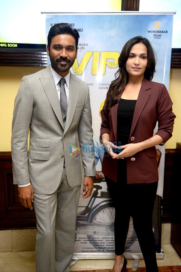 Kajol and Dhanush promote their film VIP2 in Delhi