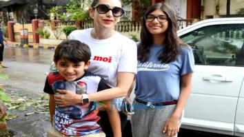 Karisma Kapoor snapped with her kids Kiaan and Samaira in Bandra