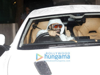 Ranveer Singh and Deepika Padukone snapped on his birthday today in his new Aston Martin car