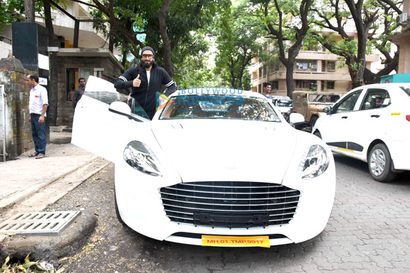 Ranveer Singh poses with his birthday present, Aston Martin