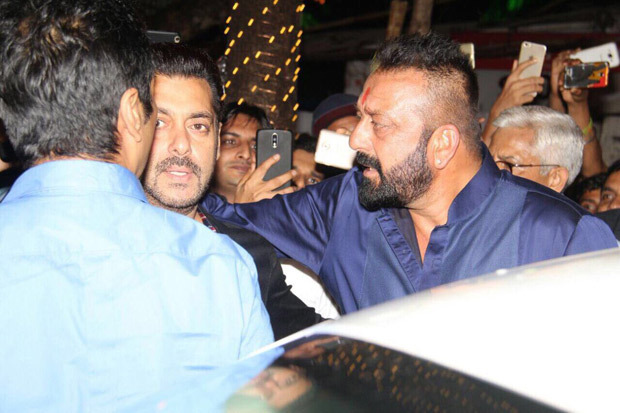 BHAI MEETS BABA Salman Khan and Sanjay Dutt hug it out during Ganpati celebrations at Ambani residence (2)