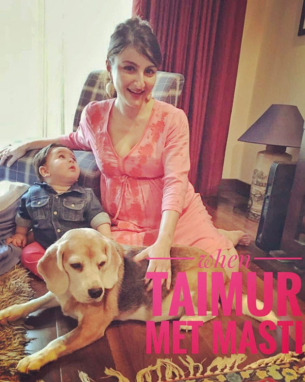 CUTE! This picture of Soha Ali Khan and her nephew Taimur bonding during her baby shower is adorable