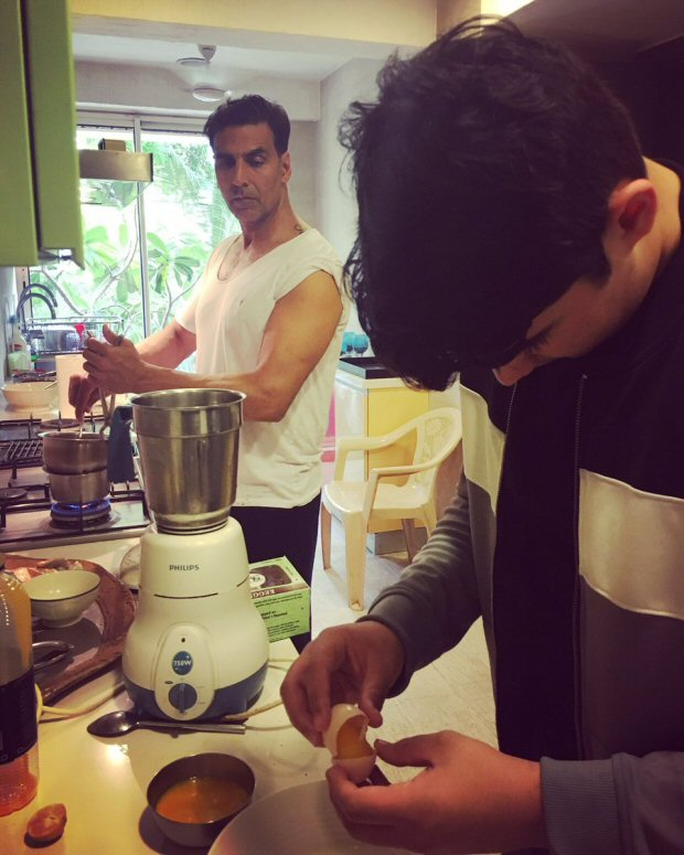 Check out Akshay Kumar and son Aarav turn chefs and make desserts for their guests