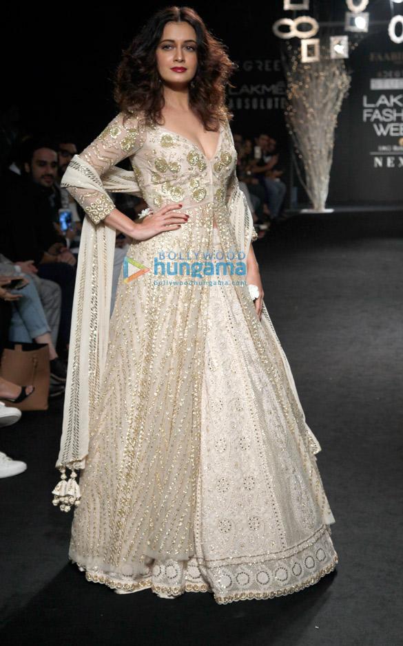 Dia Mirza walks for Faabiiana at Lakme Fashion Week 2017