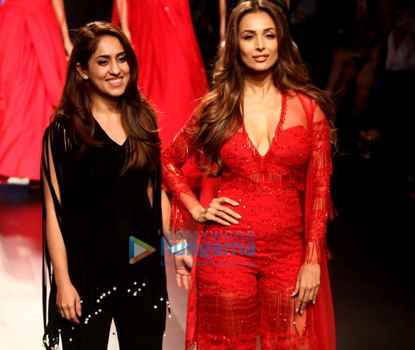 Malaika Arora walks for Ridhi Mehra at Lakme Fashion Week 2017