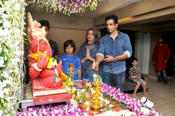 Sonu Sood conducts a Ganpati puja at his residence