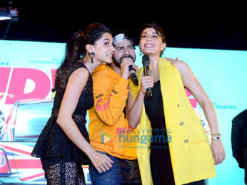 Varun Dhawan, Jacqueline Fernandez and Taapsee Pannu promote Judwaa 2 at the Habitat centre in Ghaziabab