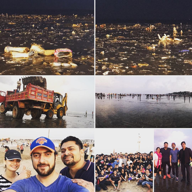 Dia Mirza takes up the task of cleaning the Juhu Beach with husband Sahil Sangha features