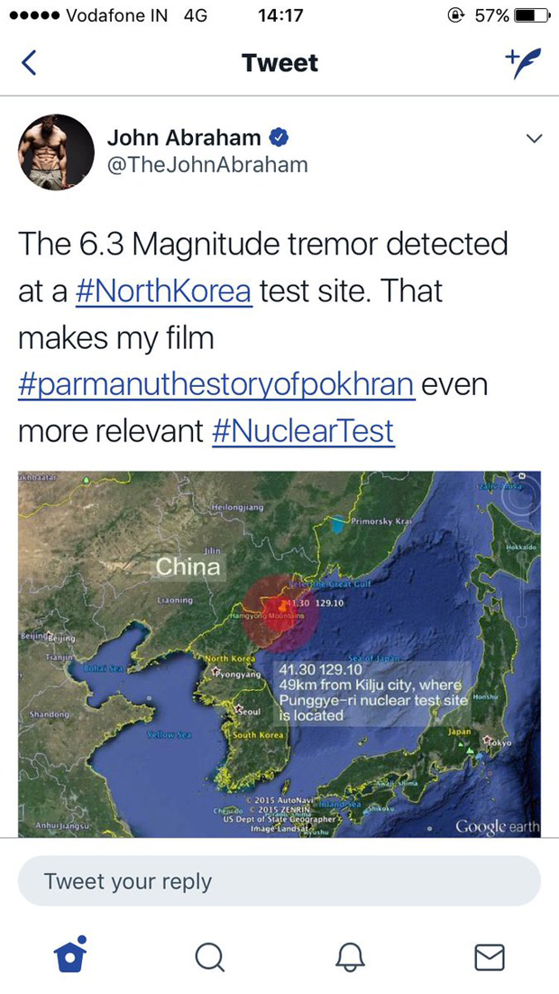John Abraham receives flak on his tweet about North Korea tremor-2