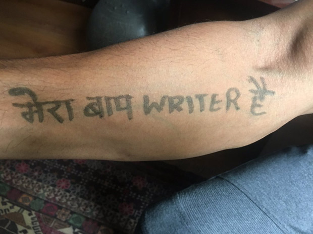 LOL! Farhan Akhtar gets 'Mera Baap Writer Hai' 'tattooed' on his hand