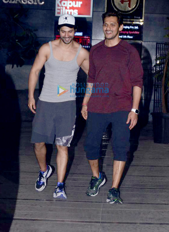 Varun Dhawan snapped with his gym trainer and friend in Bandra