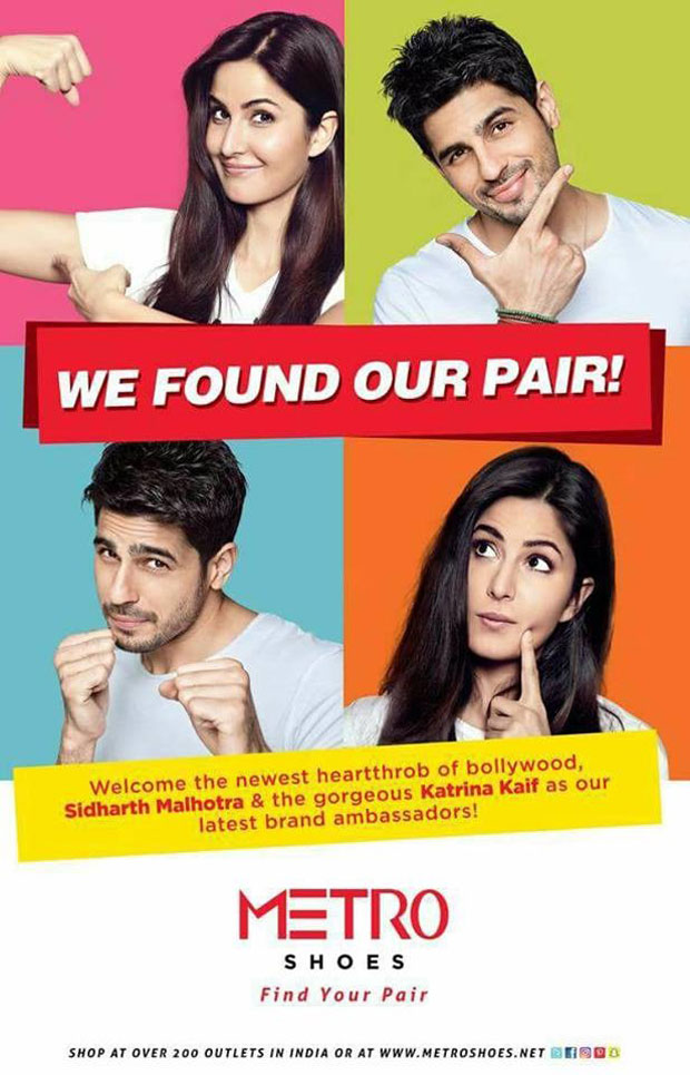 Katrina Kaif and Sidharth Malhotra roped in as brand ambassadors of Metro Shoes Features