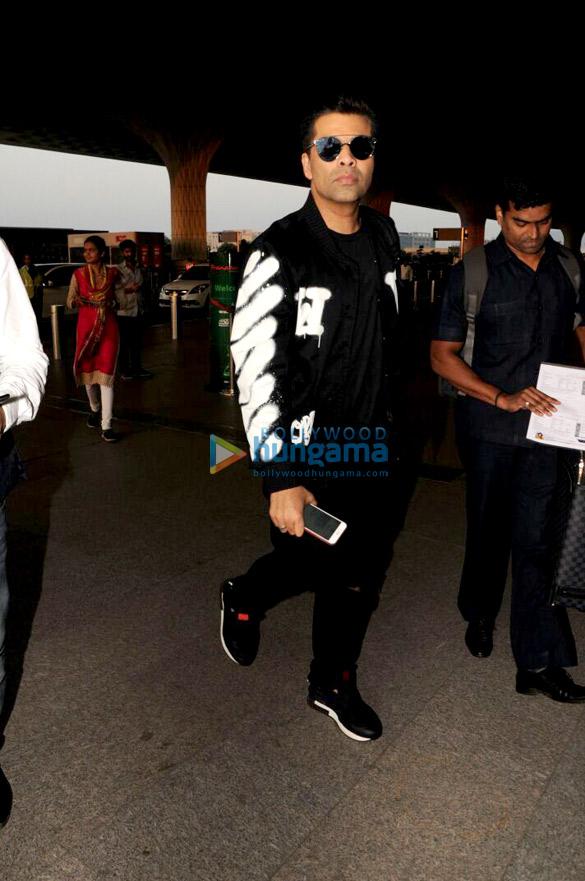 Kriti Sanon, Kajal Agarwal and Karan Johar snapped at the airport