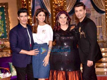 Shilpa Shetty and Manish Malhotra on the sets of the show 'Aunty Boli Lagao Boli'