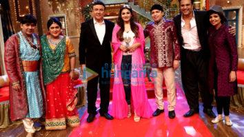Anu Malik, Raveena Tandon and Altaf Raja on the sets of 'The Drama Company'