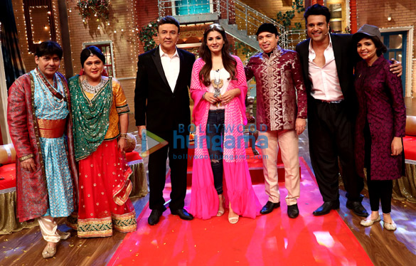 Anu Malik, Raveena Tandon and Altaf Raja on the sets of 'The Drama Company'
