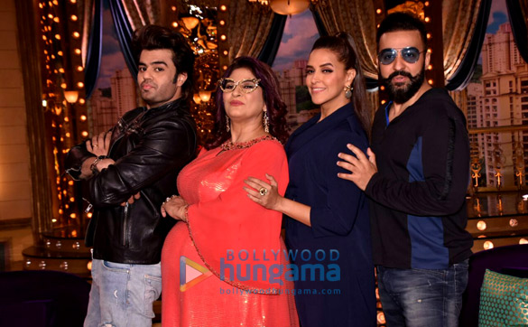 Manish Paul and Neha Dhupia snapped on the sets of the show 'Aunty Boli Lagao Boli'