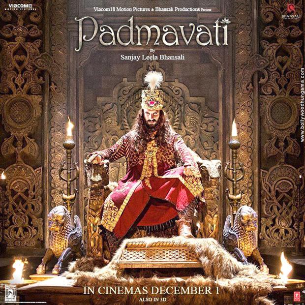 Ranveer Singh's look as Alauddin Khilji is as tyrannical as ever on this poster of Padmavati